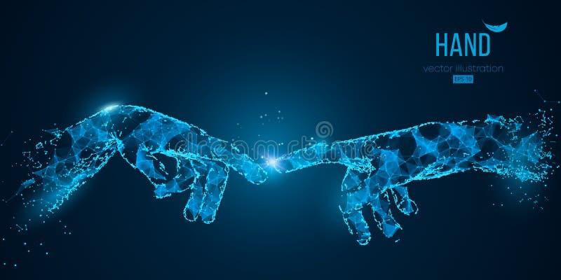 Резюмируйте 2 руки касаясь моментам от частиц и треугольников на голубой предпосылке технология также вектор иллюстрации притяжки иллюстрация штока
