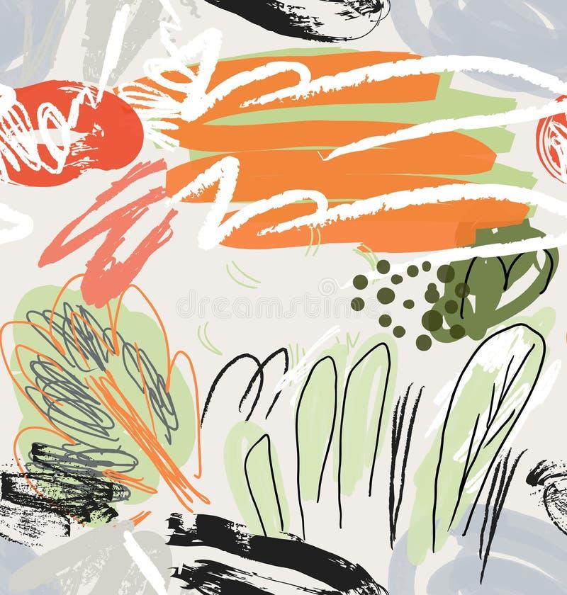 Резюмируйте сделанные эскиз к деревья сада осветите - серый апельсин иллюстрация вектора