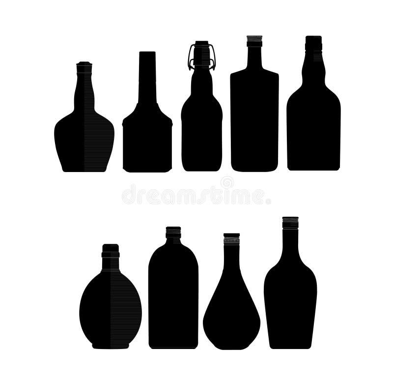 резюмируйте черные символы цвета бутылок установленные иллюстрация вектора