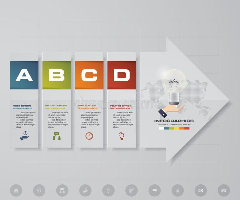 Резюмируйте 4 элемента infographics шагов с элементами формы стрелки также вектор иллюстрации притяжки corel Выровняйте в вертика иллюстрация штока