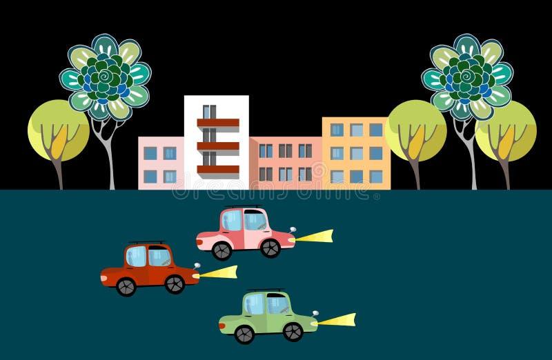 река ландшафта kremlin города отраженное ночой Печать с автомобилями, домами и деревьями бесплатная иллюстрация