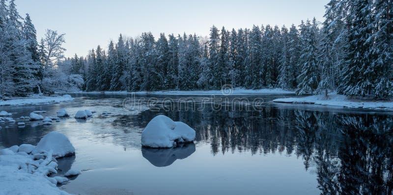 Река в морозном утре стоковые изображения rf