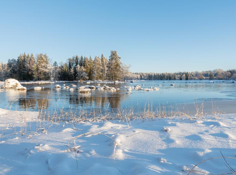 Река в морозном утре стоковое изображение rf