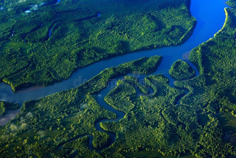 Река в троповой Коста-Рика, Corcovado NP Озера и реки, взгляд от самолета Зеленая трава в Центральной Америке Деревья с водой I стоковые фото