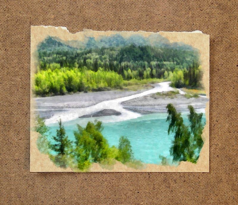 Река горы, деревья Русский ландшафт акварели лета на PA стоковое изображение rf