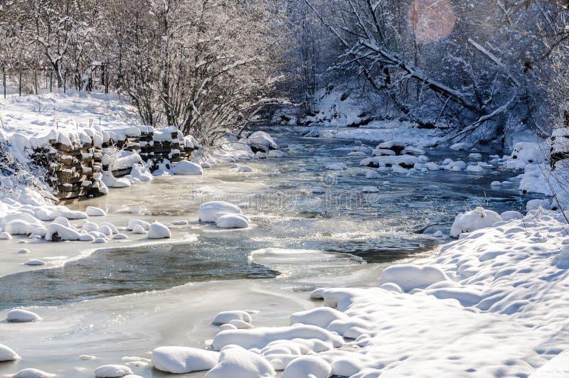 Река горы под льдом стоковое изображение rf