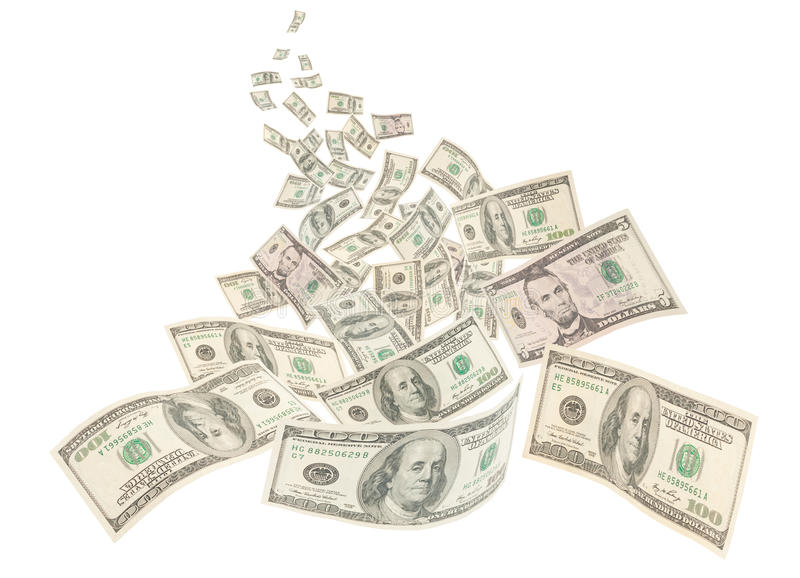 Река денег, изолированные примечания американца 100 стоковые фото