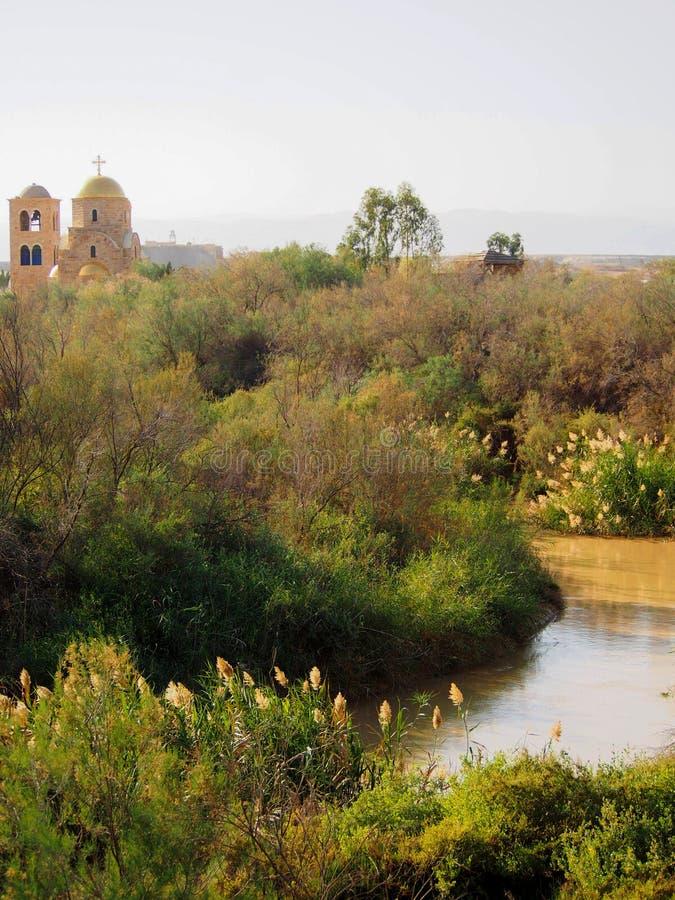 Река Иордан на Bethany за Джорданом стоковые фотографии rf