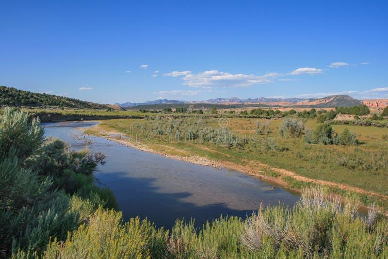Река и ландшафт Sevier в Юте, США стоковая фотография rf