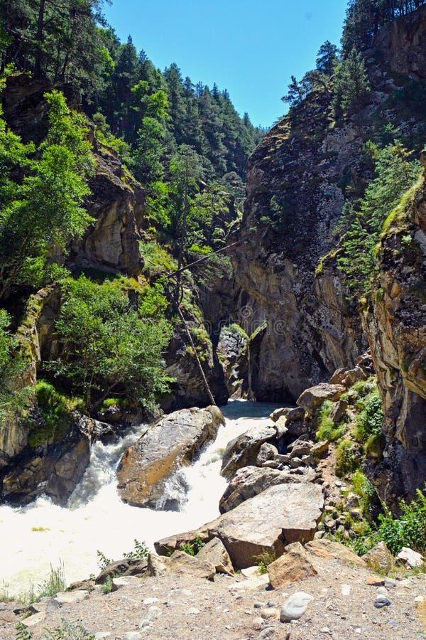 Река и водопад в лесе, горах Кавказа, России стоковые фото