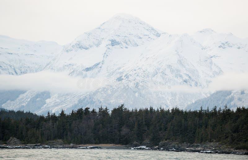 Река и горы Chilkat в снеге на восходе солнца стоковое изображение rf