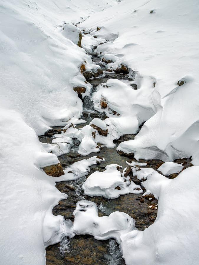 Река и снег горы стоковое изображение rf