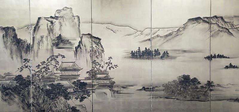 Река и шлюпка горы китайской росписи стоковое изображение