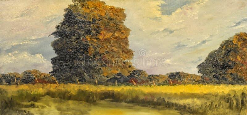 река картины маслом ландшафта пущи стоковое фото