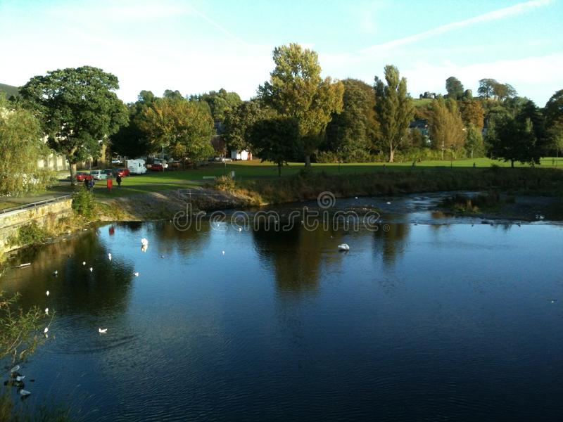 Река Кент, Kendal, Cumbria, Англия стоковая фотография rf
