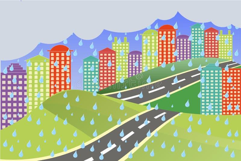 река ландшафта kremlin города отраженное ночой Красочный яркий город, серые падения дождя облака шоссе иллюстрация штока