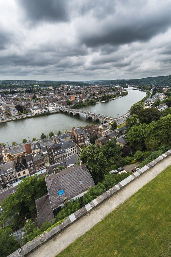Река Мёз через Намюр, Бельгию стоковая фотография rf