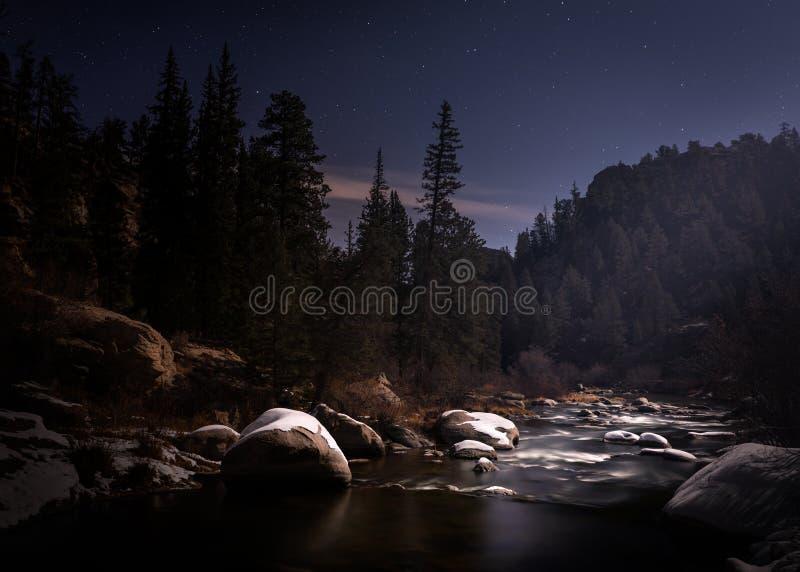 Река Ночью В Горе стоковые изображения rf