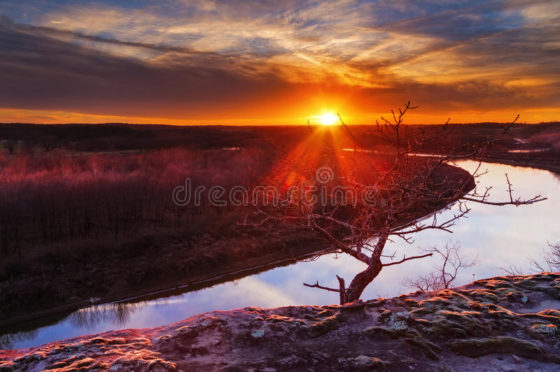 Река Осейдж в Ozarks на заходе солнца стоковое фото