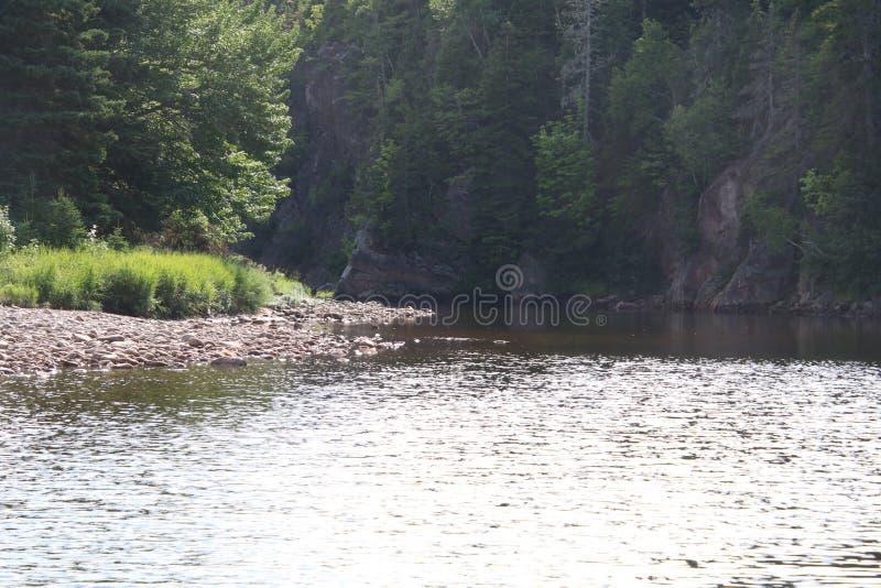 Река со скалами бежать на правой стороне стоковые изображения rf