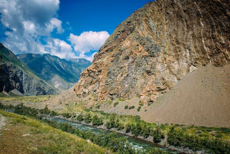 Река среди высоких гор Живописный ландшафт скалистых гор Altai и реки Chulyshman Горная цепь, река, зеленый цвет стоковые изображения rf