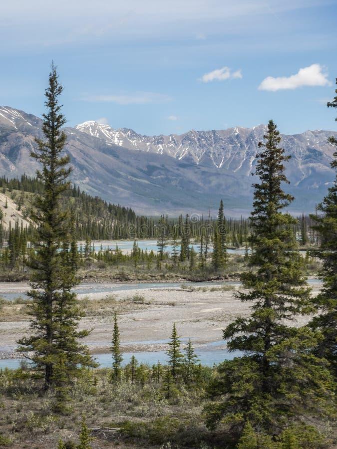 Река через долину горы стоковые фото