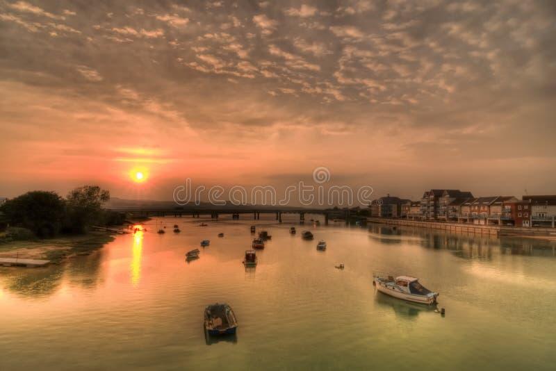 Река Adur на заходе солнца стоковые изображения rf