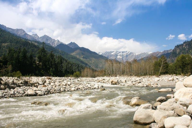 Река Beas около городка Manali. стоковое изображение rf