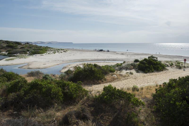 Река Bungala, пляж Normanville, южная Австралия стоковое изображение