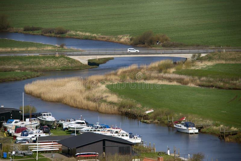 Река Danishl Ribe увиденное сверху стоковые фотографии rf