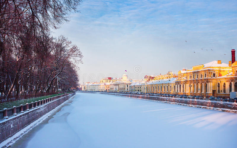 Река Fontanka в зиме стоковое фото