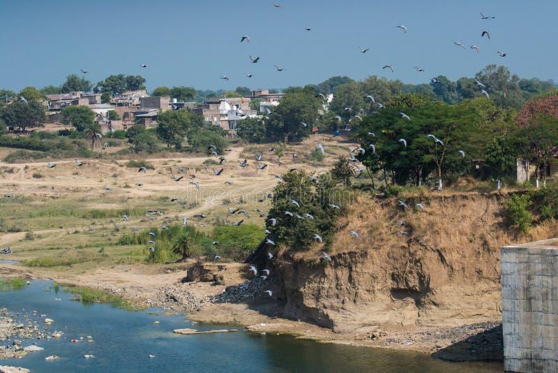 Река Gambhir и сломленный берег стоковое фото rf