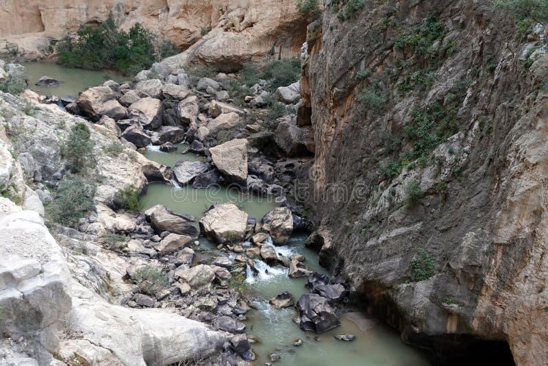 Река Guadalhorce на Caminito del Rey в Андалусии, Испании стоковые фото