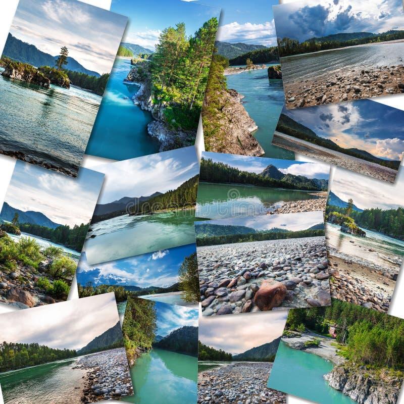 Река Katun в республике Altai коллаж стоковые изображения