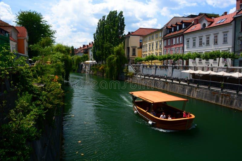Река Ljubljanica ljubljana Словения стоковые фото