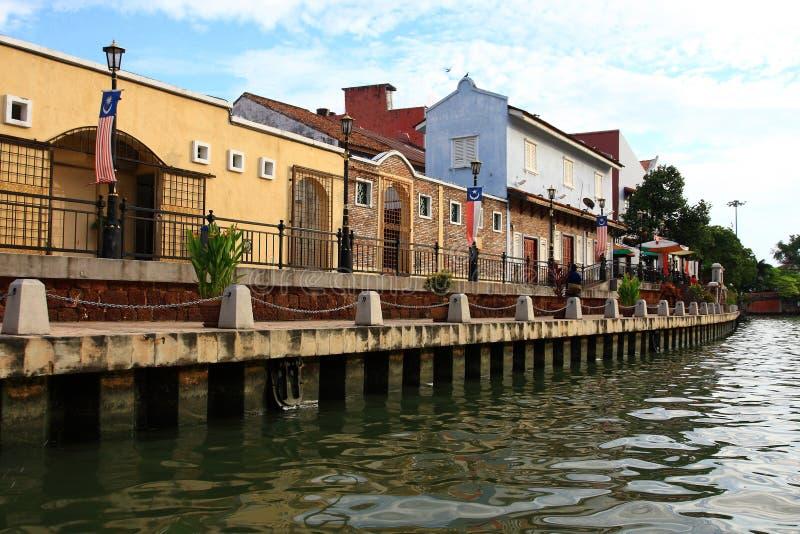 река melaka города стоковое изображение
