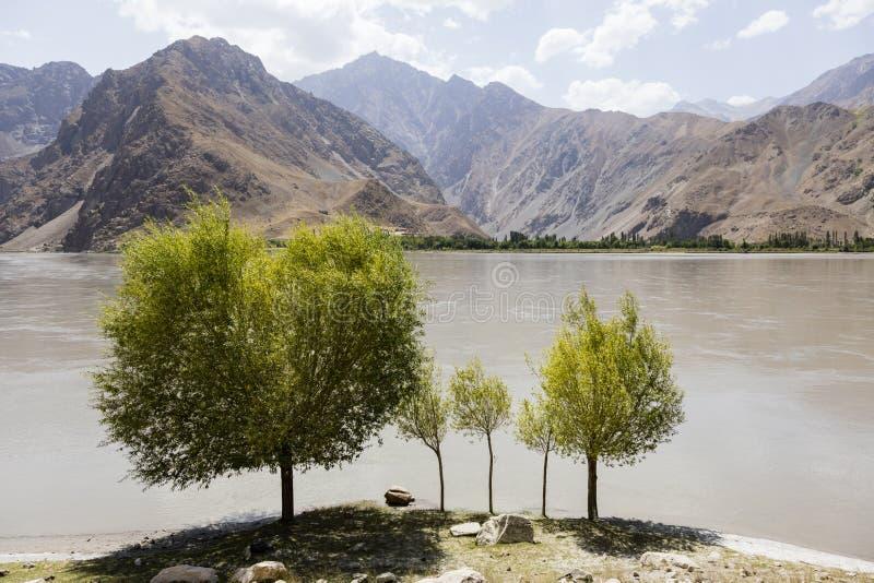 Река Panj границы в долине Wakhan с Таджикистаном на переднем плане и Афганистаном на заднем плане стоковая фотография rf