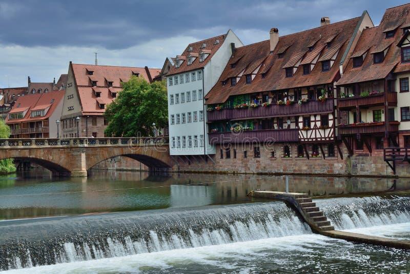 Река Pegnitz в старом городке Nurnberg стоковое изображение