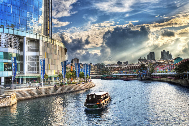 река singapore quay clarke стоковое изображение