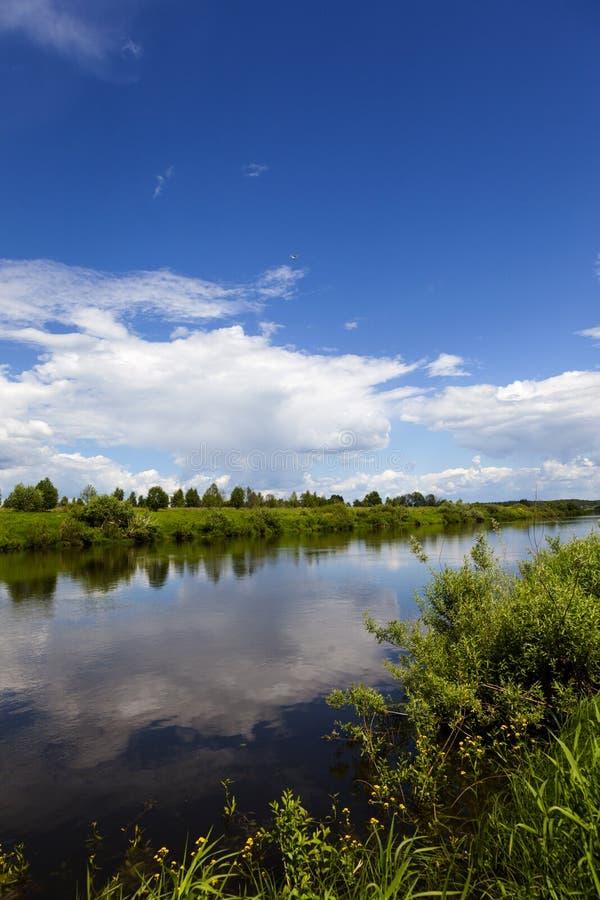 Река Ugra в солнечном дне стоковое фото rf