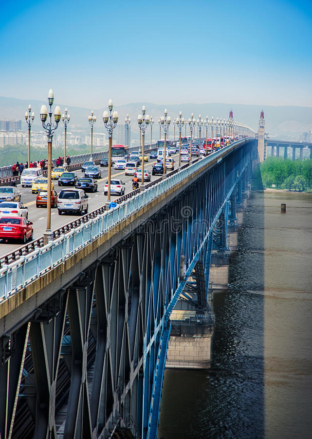 река yangtze nanjing моста стоковое изображение