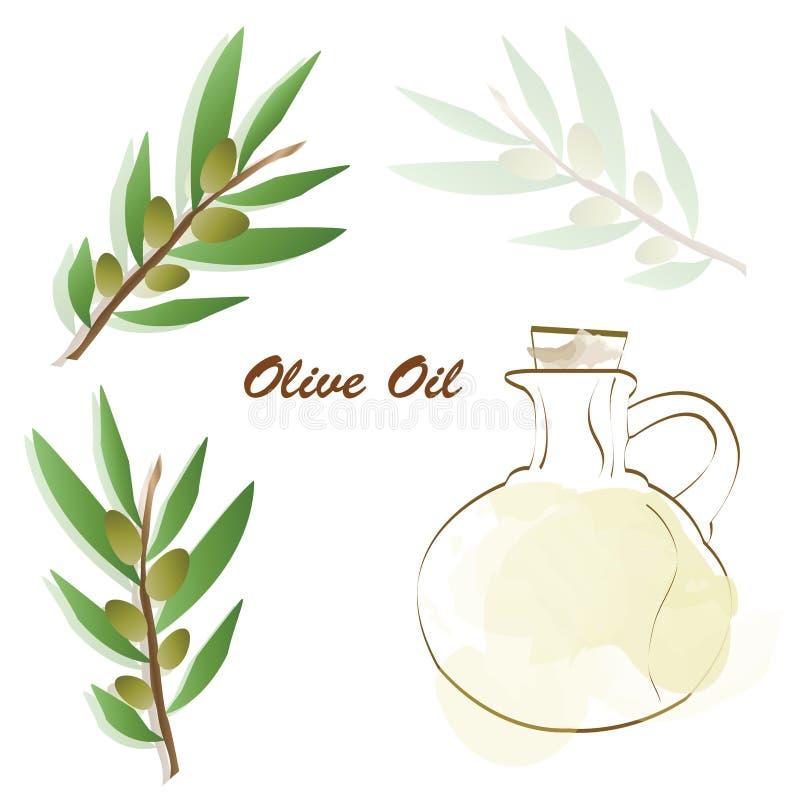 Реклама оливкового масла - вектор оливкового дерева - бутылка с вектором оливкового масла иллюстрация штока