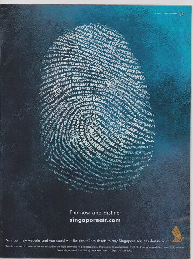 реклама плаката Сингапоре Аирлинес в журнале начиная с октября 2005, новом и отдельном лозунге стоковое изображение