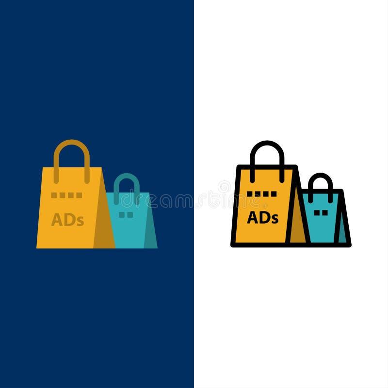 Реклама, сумка, портмоне, объявление покупок, ходя по магазинам значки Квартира и линия заполненный значок установили предпосылку иллюстрация вектора