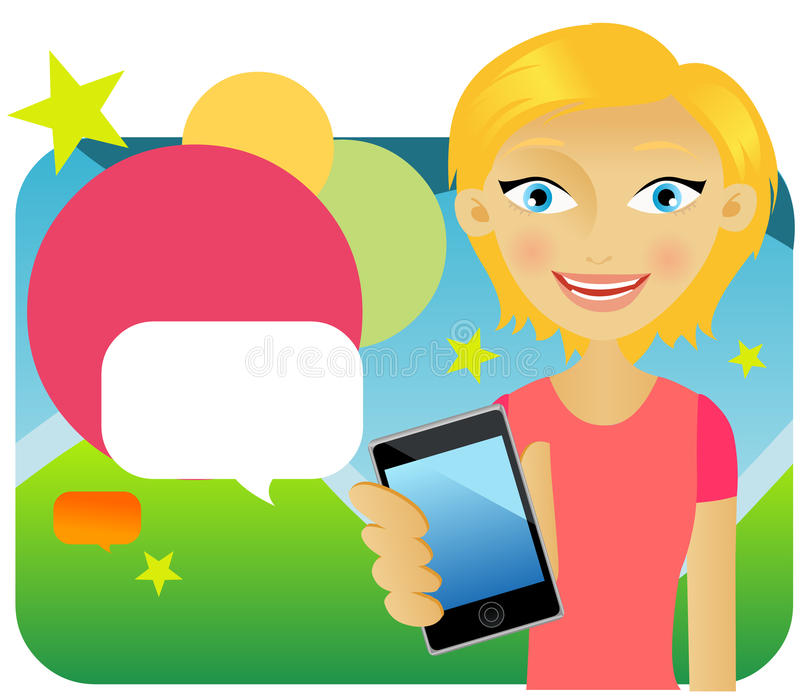 рекламировать детенышей привлекательного мобильного телефона женских иллюстрация вектора