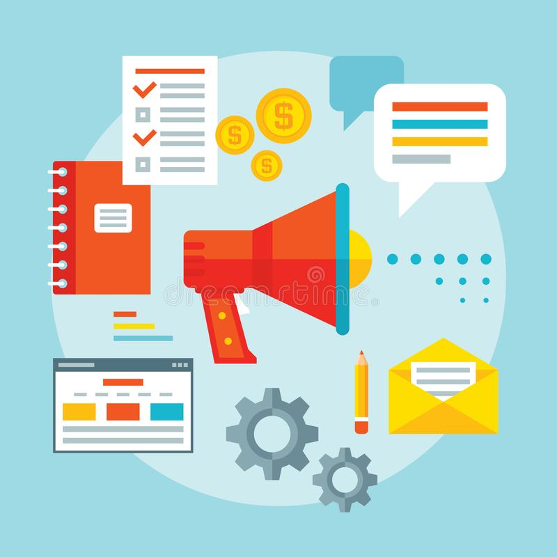 Рекламировать иллюстрацию вектора концепции продвижения в плоском стиле дизайна Анализ информации Современные решения дела бесплатная иллюстрация