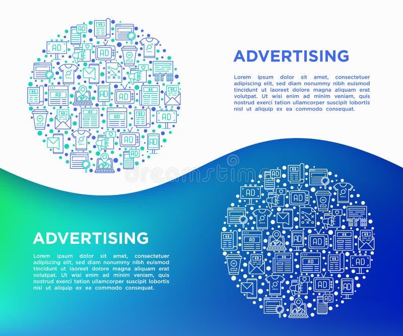 Рекламировать концепцию в круге с тонкой линией значками: афиша, объявления улицы, газета, журнал, продвижение продукта, электрон иллюстрация вектора