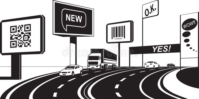 Рекламировать панели на шоссе иллюстрация вектора