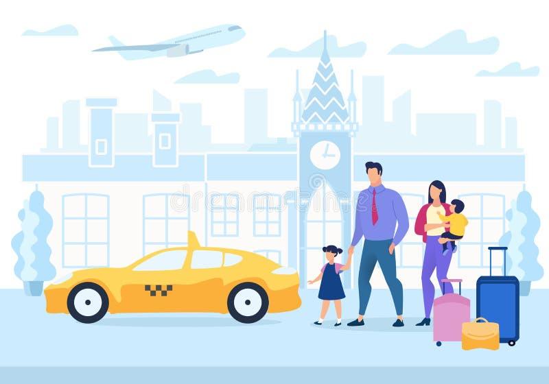 Рекламирующ мультфильм перемещения семьи плаката плоско бесплатная иллюстрация