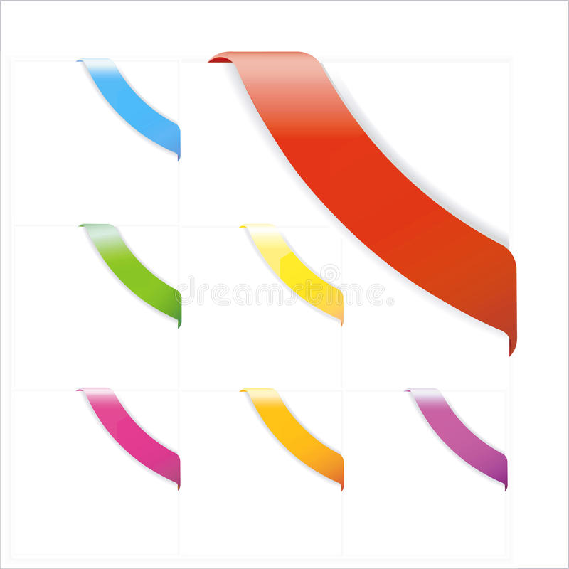 рекламирующ угловые установленные тесемки стоковое изображение rf